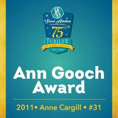 In recognition of...Anne Cargill (#31), 2011 recipient of the Ann Gooch Award