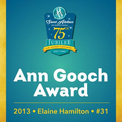 In recognition of...Elaine Hamilton (#31), 2013 recipient of the Ann Gooch Award