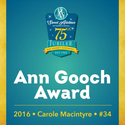 In recognition of...Carole Macintyre (#34), 2016 recipient of the Ann Gooch Award