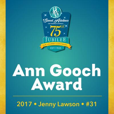 In recognition of...Jenny Lawson (#31), 2017 recipient of the Ann Gooch Award